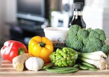 raw veggies, ginger, garlic and edamame