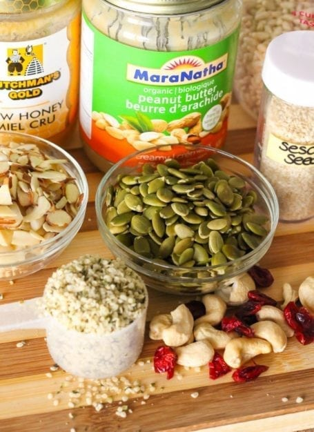 seeds, nut butter and almonds