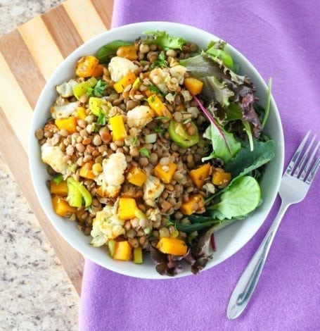 Lentil and Roasted Cauliflower Salad - Eat Spin Run Repeat