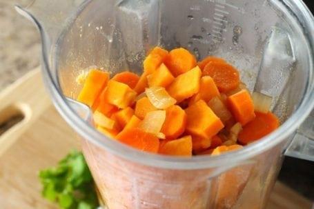 Thai Carrot and Sweet Potato Soup before blending