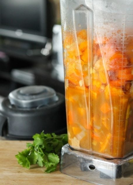 Thai Carrot and Sweet Potato Soup before blending