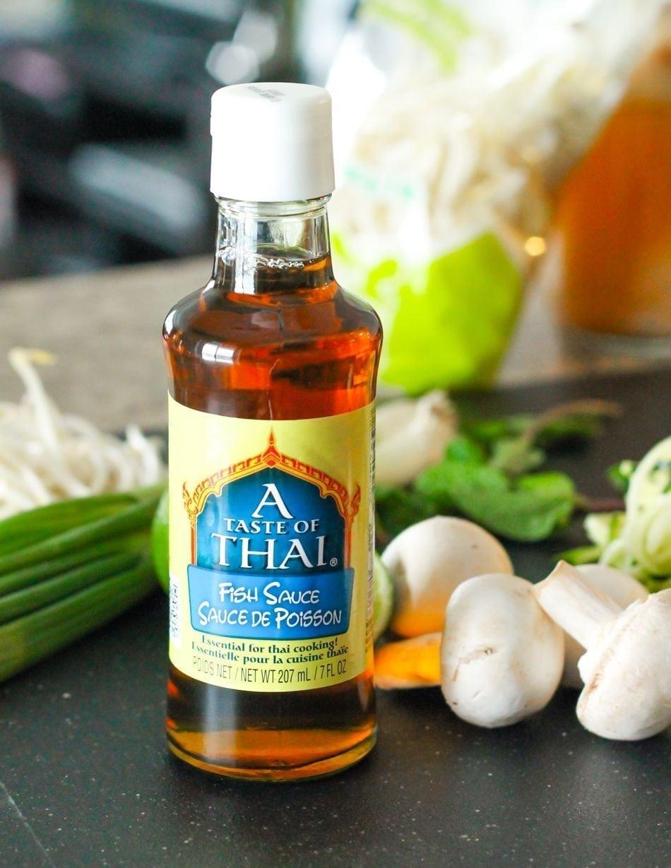 Zucchini noodle shrimp pho for Thai fish sauce