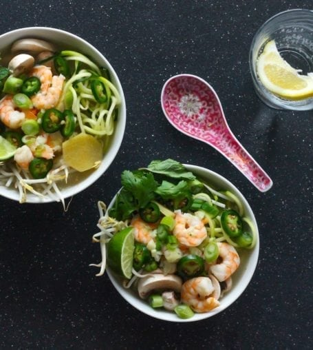 Zucchini Noodle Shrimp Pho - Eat Spin Run Repeat 1