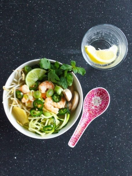 Zucchini Noodle Shrimp Pho - Eat Spin Run Repeat