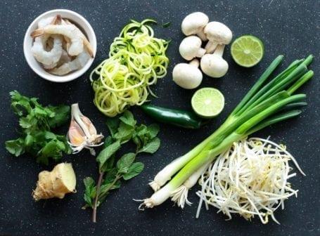 Zucchini Noodle Shrimp Pho - Ingredients