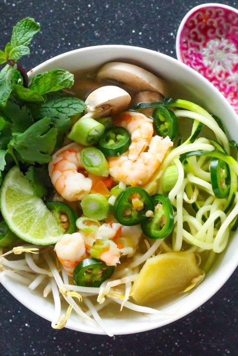 Zucchini Noodle Shrimp Pho | Try this high-protein, cozy paleo-friendly soup made with soothing broth and spiralized zucchini noodles | My Fresh Perspective | #paleo #pho #glutenfree #whole30
