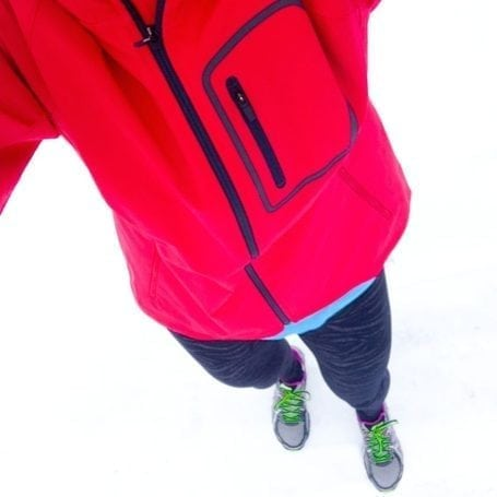 cold weather running gear selfie