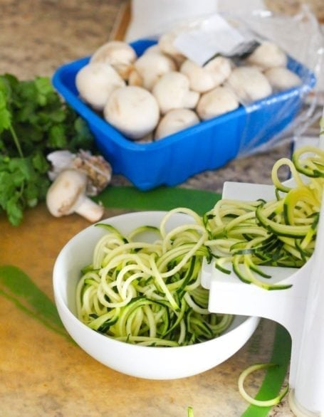 mushrooms and zucchini noodles