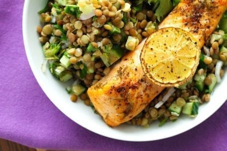 Lemony Salmon with Dill Lentil Pilaf - Eat Spin Run Repeat
