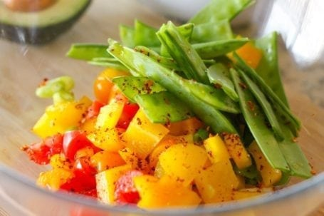 diced veggies and chipotle seasoning