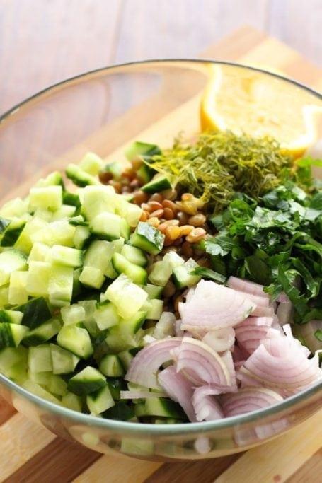 ingredients for dill lentil pilaf salad