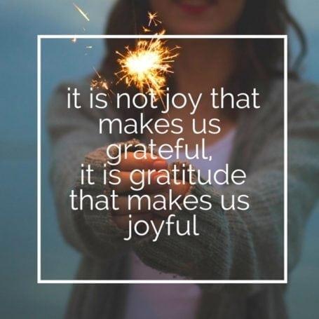 it is not joy that makes us grateful, it is gratitude that makes us joyful
