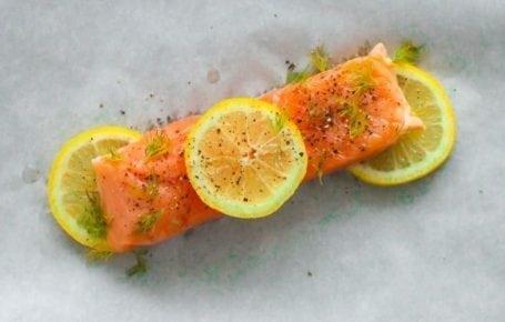 lemon and dill on salmon
