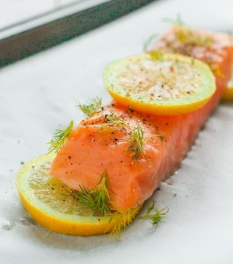 lemon dill salmon before cooking