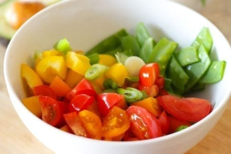 peppers tomatoes and snap peas