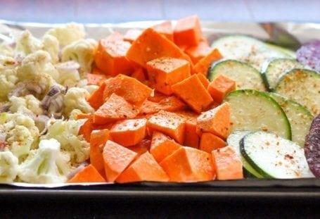 raw cauliflower sweet potato and zucchini