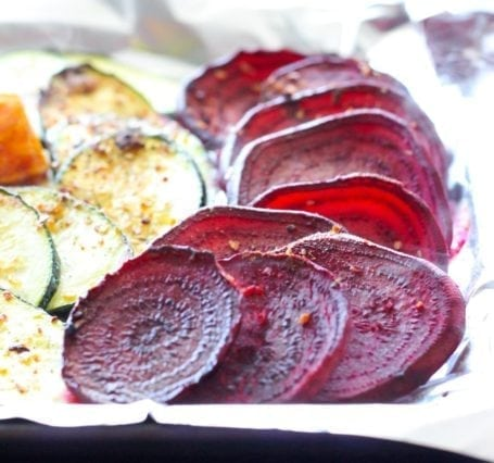roasted beets, cauliflower, sweet potato and zucchini