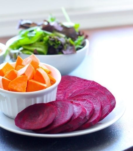 sliced beets and sweet potato