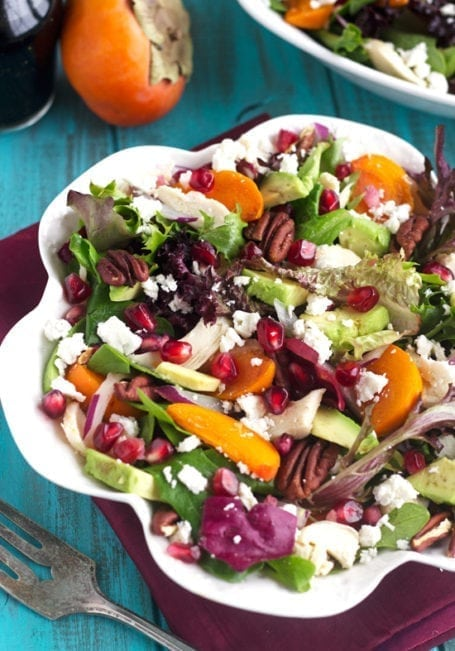 Pomegranate Salad with Persimmons - Food Faith Fit