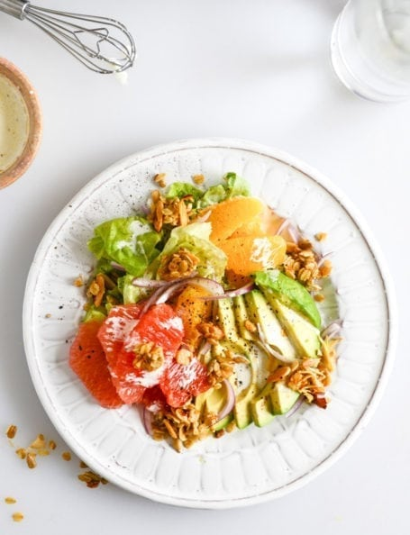 Avocado Citrus Crunch Salad with Oat Croutons and Buttermilk Drizzle - How Sweet Eats