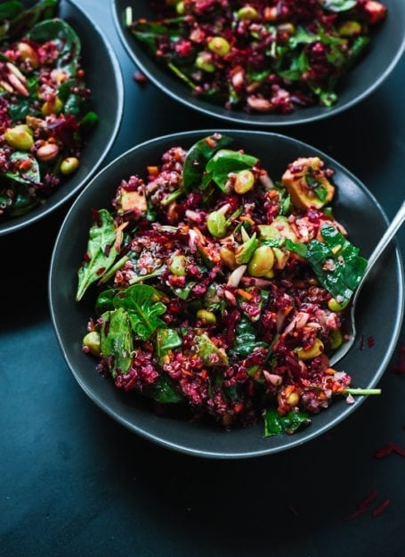Colourful Beet Salad with Carrots, Quinoa and Spinach - Cookie and Kate