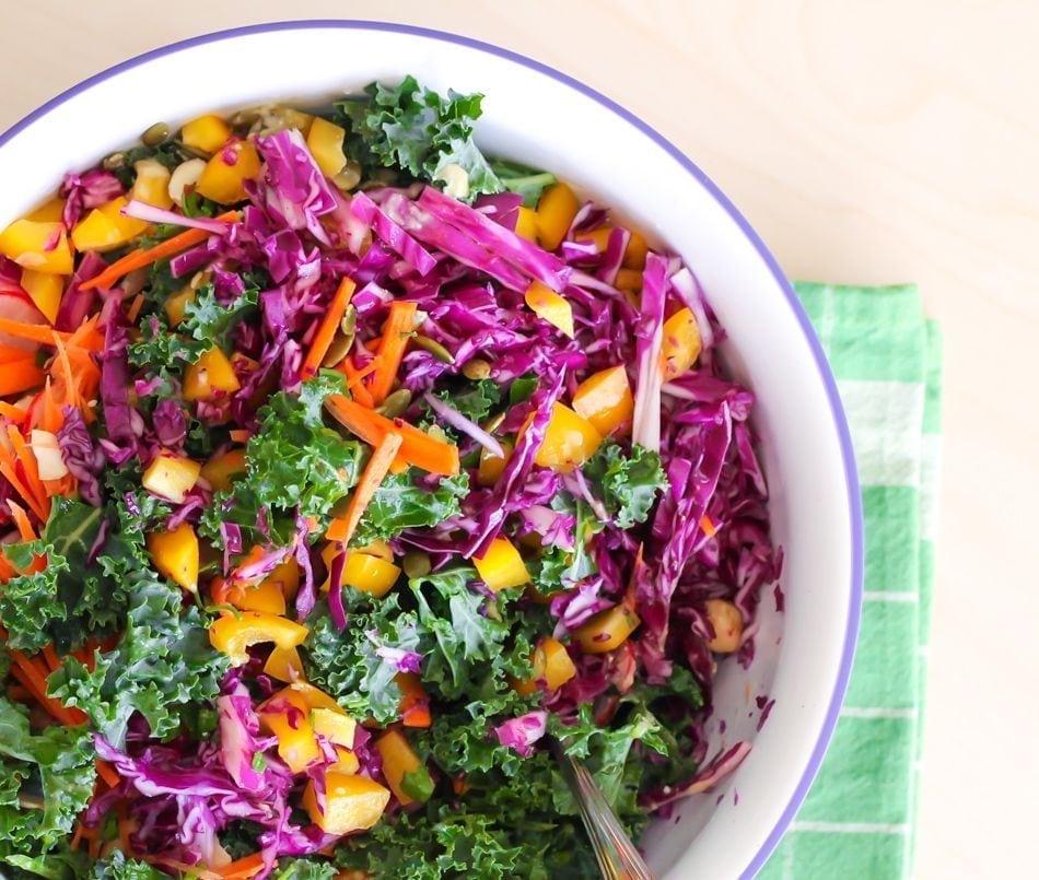Rainbow Kale Salad with Miso Tahini Dressing
