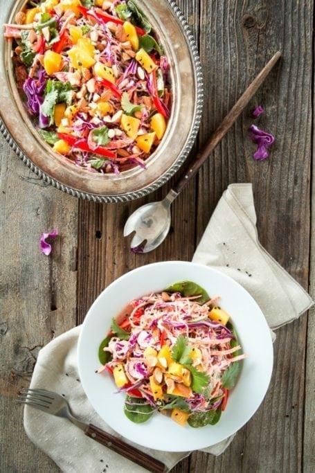 Rainbow Kelp Noodle Salad with Lemon Almond Ginger Dressing - Keepin It Kind
