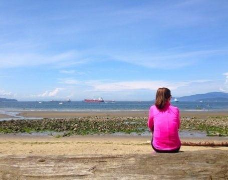Sitting at the beach along the Sea Wall