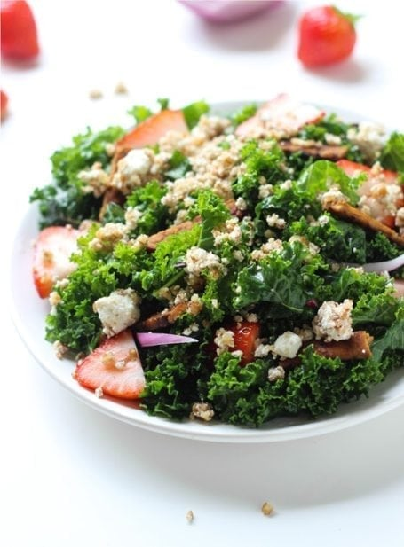 Strawberry Kale Salad with Tempeh Bacon - Making Thyme for Health