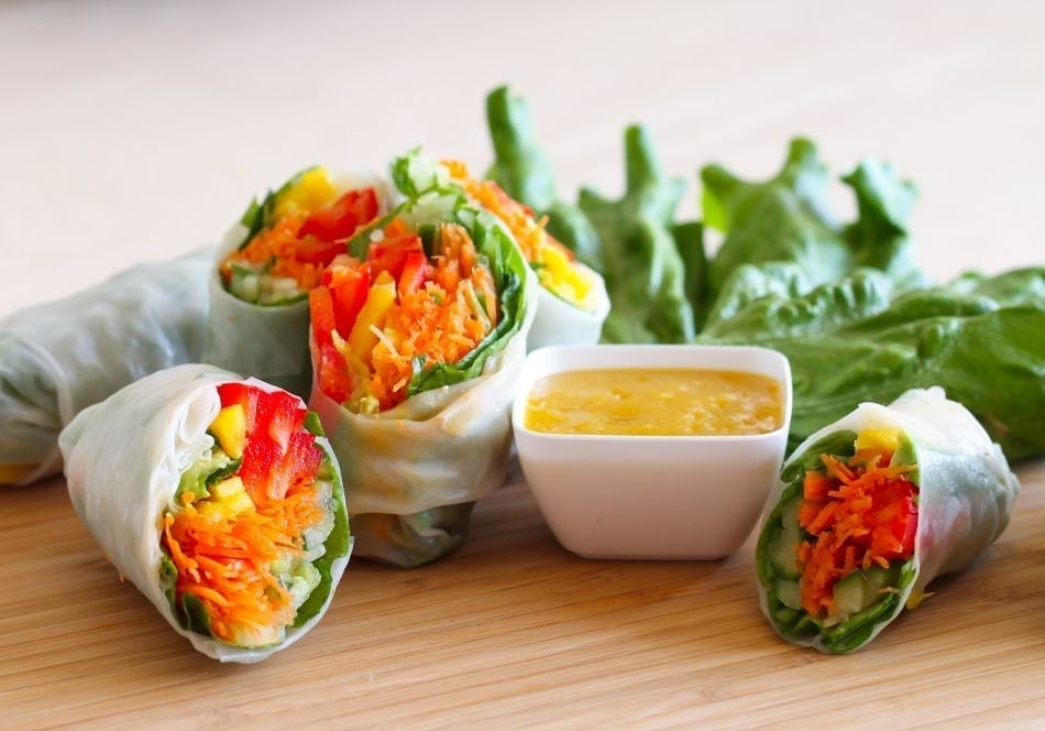 Veggie Spring Rolls with Ginger Mango Dipping Sauce - Eat Spin Run Repeat