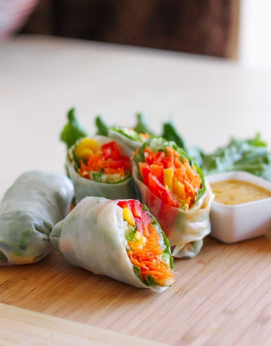 tofu triangles with asian dipping sauce summer rolls with baked tofu ...
