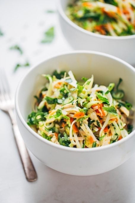Vietnamese Chicken Salad with Rice Noodles - Pinch of Yum