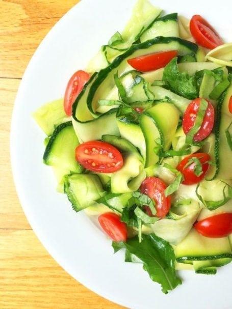 Zucchini Cucumber Ribbon Salad with Lemon Basil Vinaigrette - The Lemon Bowl