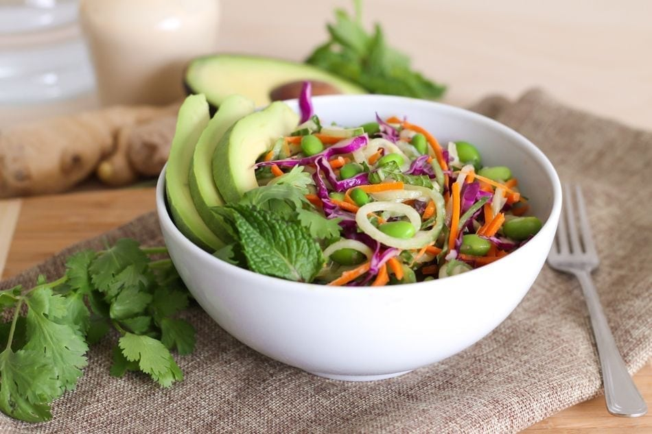 Edamame and Cucumber Noodle Salad with Creamy Ginger Dressing - Eat Spin Run Repeat