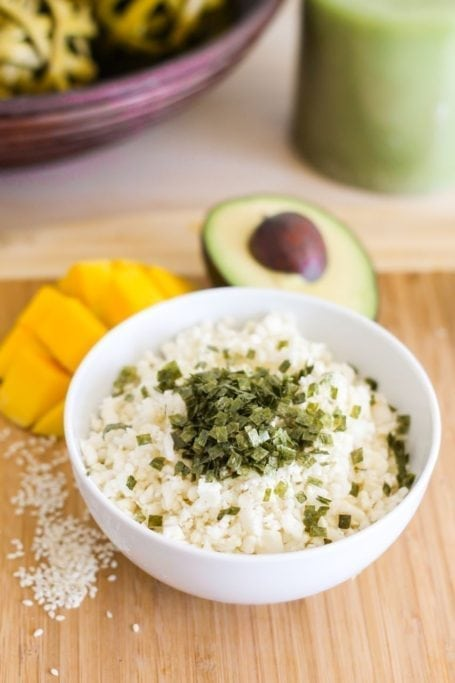 cauliflower rice with crumbled nori