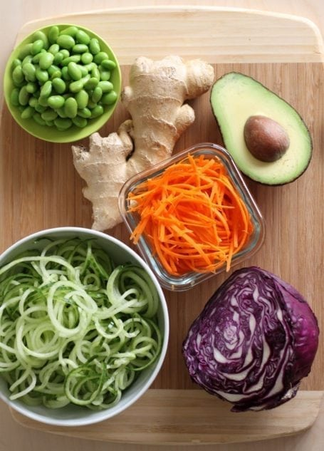 ingredients for Edamame and Cucumber Noodle Salad with Creamy Ginger Dressing