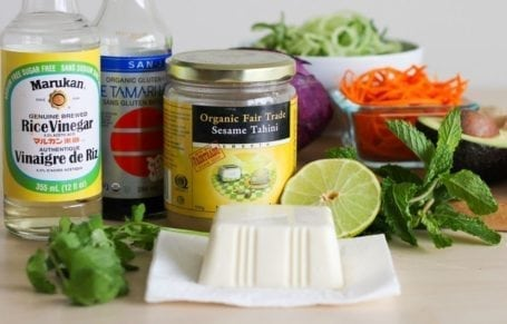 ingredients for creamy vegan ginger dressing