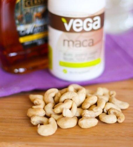 unsalted cashews and Vega maca