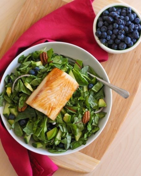 Blueberry and Greens Salad with Mahi Mahi - Eat Spin Run Repeat