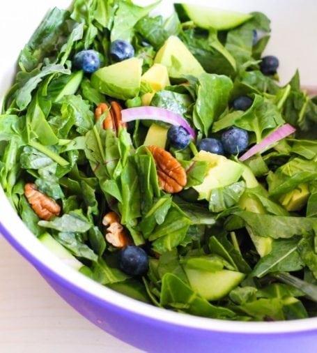 Blueberry and Greens Salad with Mahi Mahi recipe - Eat Spin Run Repeat