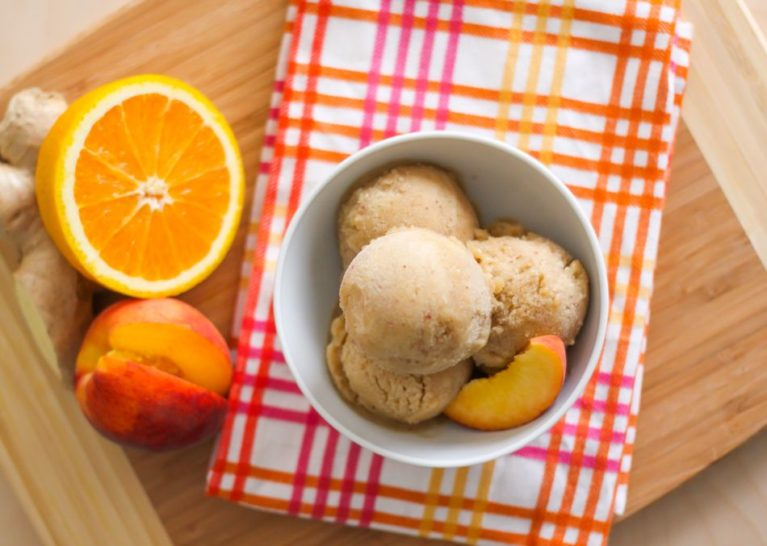 Ginger Peach Ice Cream - Eat Spin Run Repeat