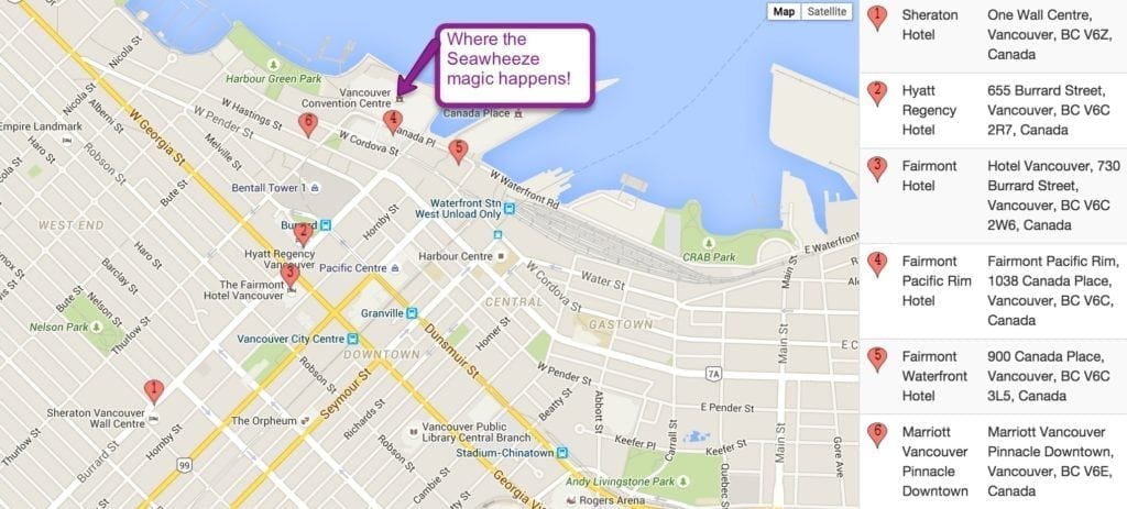 Map of Downtown Vancouver Hotels for Seawheeze