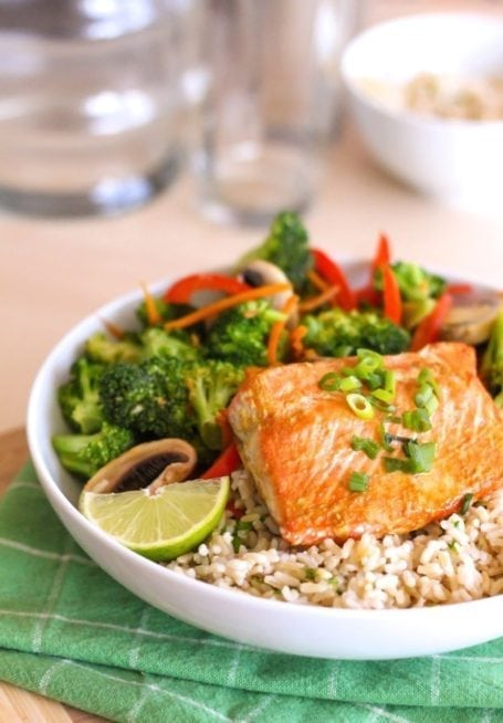 Salmon and Orange Teriyaki Stir Fry - Eat Spin Run Repeat