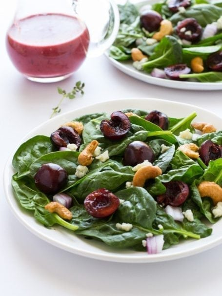 Spinach Salad with Fresh Cherry Vinaigrette - via Making Thyme for Health