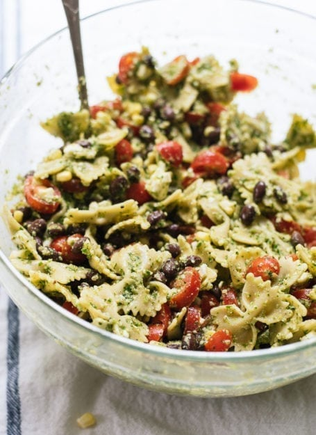 Summertime Pasta Salad with Tomatoes, Corn and Jalapeño Pesto - Cookie and Kate