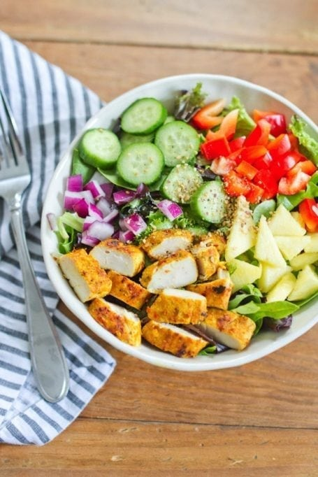 Thai Curry Chicken Salad with Dijon Dressing - via Eating Bird Food