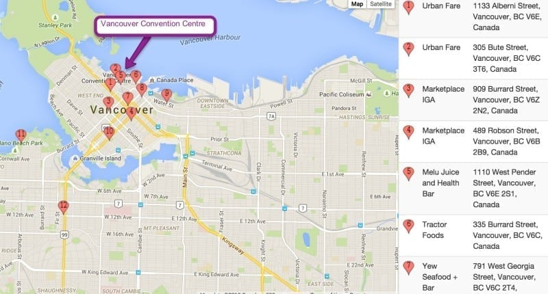 Map of Vancouver Eats - for Seawheeze