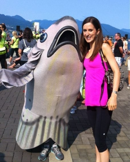 with a shark mascot at Seawheeze 2012