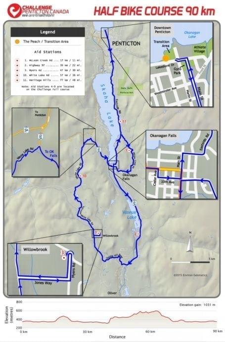 Challenge Penticton Half Bike Course
