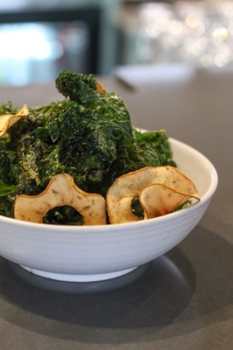 Kale chips with dried apple rings